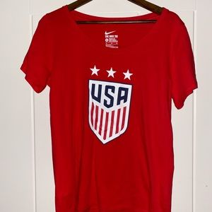 Nike USA Athletic Cut Red Short Sleeve Women's Tee